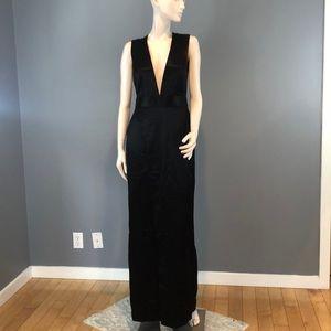 NWT Theyskens Theory Black Deep V-Neck Dress Sz 4
